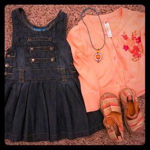 Adorable girls denim dress and Coral Cardigan